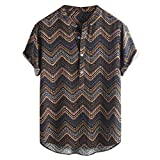 e2ef0f40 zarupeng✦‿✦Moda de los Hombres de Lino Étnico Boho Impreso Cómodo Stand  Collar de Manga Corta Camisas Sueltas Blusa