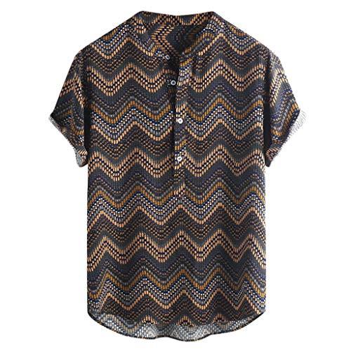 Herren Sommerhemd, Herren Revers Gestreiften Knopf Lässig Hawaii Kurzarm Shirt Top Grün