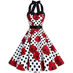 Dressystar corto cuello Halter estampado flores y lunares vintage retro fiesta 50s 60s rockabilly blanco negro rosa