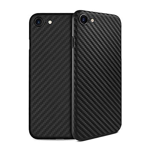 doupi UltraSlim Case iPhone 8 / 7 ( 4,7 pouces ) [ Chargeur sans fil pris en charge ] Carbon Fiber Look Optique de Fibre de Carbone ultra mince et ultra léger Bumper Cover Housse de Protection Shell Coque Hardcase - noir