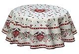 Landhaus Tischdecke mit Herzen, Gobelin, rund 140 cm. Traumdecke von Provencestoffe