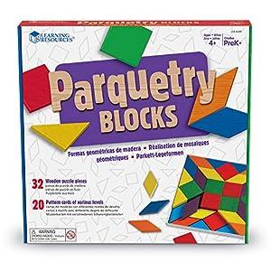 Learning Resources- Parquetry Block Super Set de Bloques geométricos y Tarjetas para Crear un entarimado, Color (LER0289)
