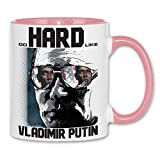 Royal Shirt rs22 Tasse Go hard like Vladimir Putin | Putin Präsident Russland Moskau USA Obama, Farbe :White - Pink