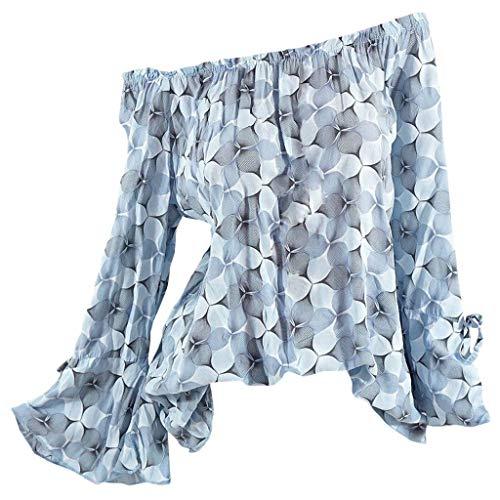 Kviklo Deman Plus Size Top Shirt 3D Druck auf die Schulter Knopf Flare Langarm Loose Bluse Oversize(50,Hellblau)