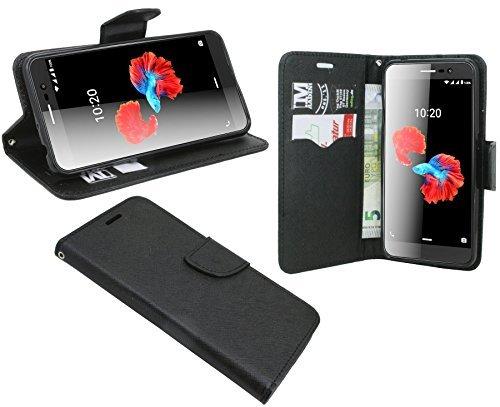 cofi1453 ZTE Blade A910 // Buchtasche Hülle Case Tasche Wallet BookStyle mit Standfunktion in Schwarz