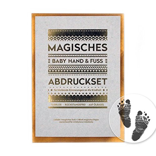 Magisches BABY ABDRUCKSET - keine Tinte, kein Gips! /// 4x Papier ca. 21x14 cm /// MEDIUM /// ausreichend für mind. 4 Hand- oder Fußabdrücke, Anwendung ab Geburt möglich