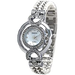 Shiny Silver Band Round White Dial Ladies Immited Pearl Bracelet Watch