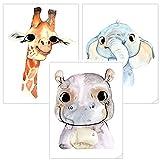 Timalo Set di 3 immagini poster, decorazione per cameretta dei bambini, decorazione per ragazze e ragazzi, t3er01, Blu