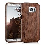 kwmobile Coque en bois véritable pour Samsung Galaxy S7 edge en bois de rose marron