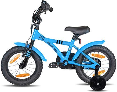 Prometheus Bicicletta per Bambini e Bambine da 4 Anni nei Colori Blu e Nero da 14 Pollici con rotelle e contropedale – BMX da 14″ Modello 2019 - 4