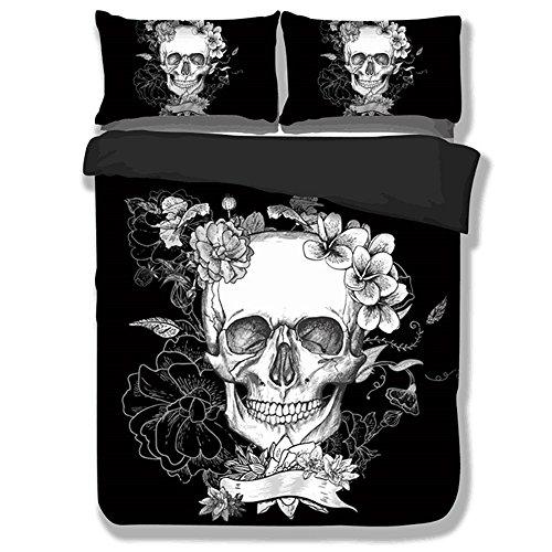Sticker superb Bettwäsche Set Bettbezug und Kissenbezug Halloween-Schädel-Blume -