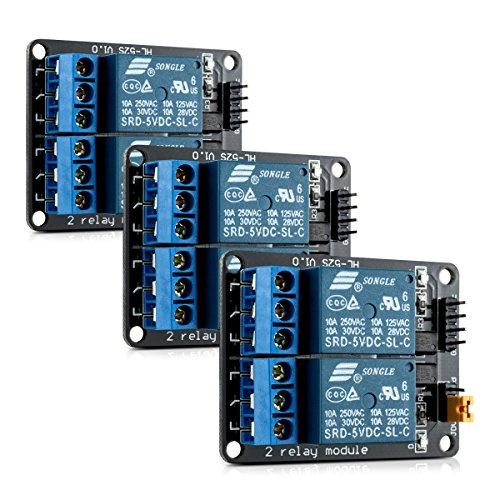 kwmobile 3x module de relais 2 canaux - Lot de modules 5V - Carte avec optocoupleur pour microcontrôleur compatible Arduino Raspberry Pi