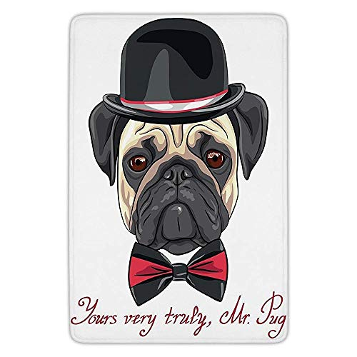 XIAOYI Bathroom Bath Rug Kitchen Floor Mat Carpet,Pug,Sketch Style Hipster Dog Frowning Sad Face Pure Bred Top Hat and a Bow Tie Mr Pug,Black Red Cream,Flannel Microfiber Non-Slip Soft Absorbent - Black Velvet Top Hat