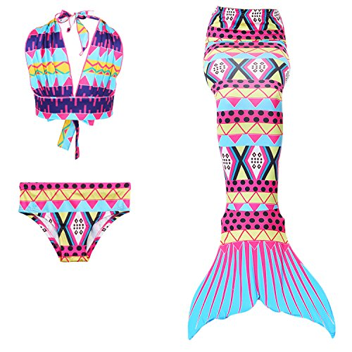 Lonchee niedlich Mädchen Meerjungfrau Schwimmanzug Badeanzüge Bikini Kostüm Badeanzug Kann Monofin treffen für Kinderschwimmen Schwimm (Tumblr Meerjungfrau Kostüm)