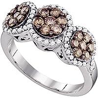 10Kt Weiß Gold Damen Rund Kreditkartenfach Farbe reinheitsverbesserter Diamant Cluster Ring 1.00Karat