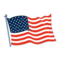 Beistle 55845-25 12-Pack American Flag Cutouts, 25-Inch
