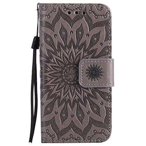 EKINHUI Case Cover Für Apple IPhone 5s SE Fall, Prägen Sonnenblume Magnetic Pattern Premium Weiche PU Leder Brieftasche Stand Case Cover mit Lanyard & Halter & Card Slots ( Color : Red ) Gray