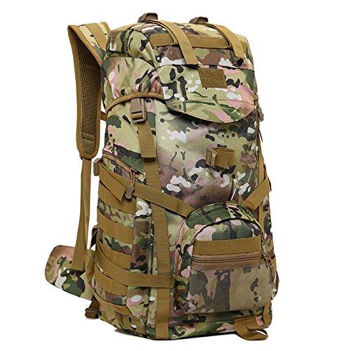 nihiug Trekking Rucksack 60l Outdoor Reise Bergsteigen Leicht Camouflage Große Kapazität Schulter Camping Taktische Rucksack,Camouflage2-60L -