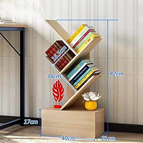 Creative Bookshelf Simple Bookcase Modern Shelf Bedroom Living Room Tree Shape Landing ( Color : Maple trees , Size : 82cm