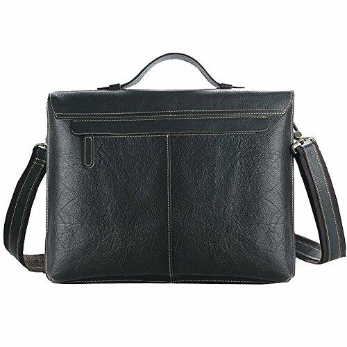 Othilar Herren Büffelleder Tasche Handtasche Aktentasche Schultertasche für Büro Reise (Dunkelbraun) Schwarz