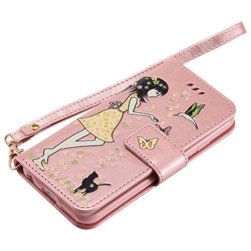 iPhone 6 Hülle Flip-Case Premium Kunstleder Tasche im Bookstyle Klapphülle mit Weiche Silikon Handyhalter Lederhülle für iPhone 6 (4,7 Zoll) Luminous Mädchen Katze case Hülle +Stöpsel Staubschutz (9) 9
