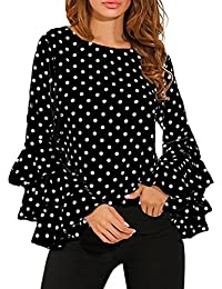 Reaso Retro Tunique Col Rond Femme Vintage Longues Manche à cloche Chemise Loose T-shirt Polka Dot Tee Shirt Ladies Casual Blouse Chic Tops