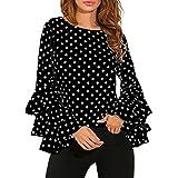 Reaso Retro Tunique Col Rond Femme Vintage Longues Manche à cloche Chemise Loose T-shirt Polka Dot Tee Shirt Ladies Casual Blouse Chic Tops (L, Noir)