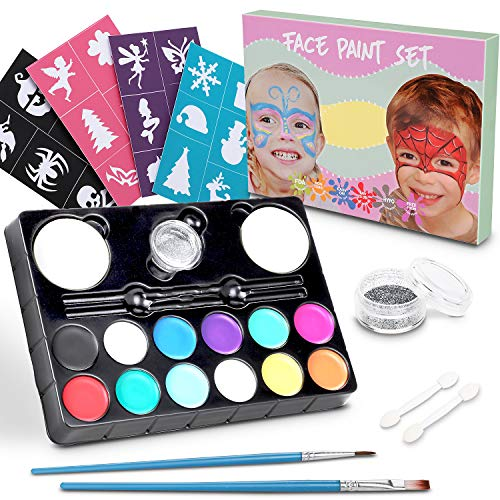 Lenbest Kinderschminken Schminkfarben, 12er Schminkset Kinder Wit 1 Glitzer, 2 Pinsel, 2 Schwämme, 2 Lidschatten-Sticks und 24 malerschablonen - Kinder Parties Halloween Karneval Make-up ()