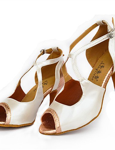 ShangYi Chaussures de danse(Rouge / Blanc / Or) -Personnalisables-Talon Aiguille-Cuir-Latine / Moderne Red