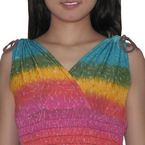 femmes Thai Exotic Étirez Flowing Réunis / taille empire en V profond été Tank Dress - Multicolore Multicolore