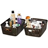 Amazon Brand - Solimo Storage Basket, Set of 2, Medium, Brown