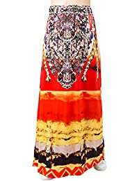 Choies de impresión Africana de Mujer Largo Maxi Falda w cordón Cintura