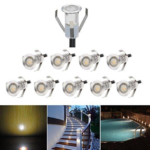 Lot of 10 Mini Ø18mm Spots Led Encastrable Extérieur Eclairage LED sous Sol, Acier inoxydable IP67 DC12V 0.4W Décoration Lumière pour Terrasse Jardin, Blanc Chaud