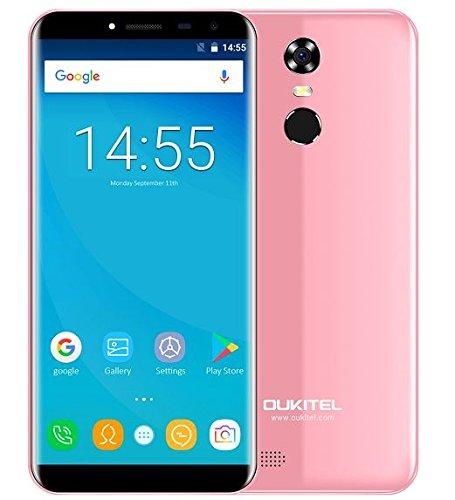 OUKITEL C8 - 5,5 Zoll (18: 9 Verhältnis Vollbild) Android 7.0 3G Smartphone, 3000mAh Akku, 1.3GHz Quad Core 2GB RAM 16GB ROM, 5MP + 13MP Kamera, Fingerabdruck - Rosa