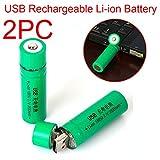 Li-ion battery, HUI.HUI 2pcs 3.7v 3800mAh 18650 USB Nachladbare Litium-ionen batterie (A)