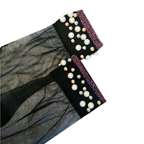 Damen Socken Transer® Nylon Ultradünne Transparente mit Perle Dekoration Socken Einheitsgröße (E) (Perle-mädchen-socken)