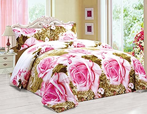 3D Effect Duvet Quilt Cover Bedding Set with Fitted Sheet + Pillow Cases Floral (JOANNA, King)