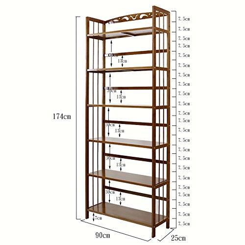 BOOK CASE SEXY- Einfache Bücherregal 6-Tier-Massivholz-Studie Office Storage Bücherregal Multilayer Regale Brown (größe : 90 * 25 * 174cm) - Case Study-metall