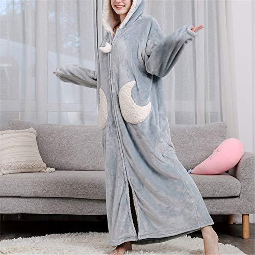 Damen Morgenmantel Kurz Bademantel Kimono Baumwolle Saunamantel Robe Mit V-Ausschnitt Sommer,Verdickung aus korallenrotem Samt und großformatiger Flanell-Kapuze mit langem Schnitt A-3 M (Baby Stormtrooper Kostüm)