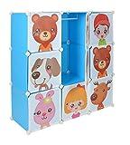 ts-ideen Steckregal-System Kinder Kleiderschrank Garderoben Flur Schrank Badschrank Kinderschrank in Blau 114 x 114 cm