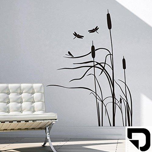 DESIGNSCAPE® Wandtattoo Schilf im Wind - Schilfgras mit Libelle - Schilfhalme 74 x 100 cm (Breite x Höhe) schwarz DW804010-S-F4