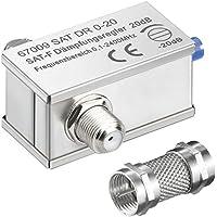 erenLine 2 Stück SAT Dämpfungsregler / Dämpfungsglied 0-20 dB; regelbar; mit Aufdreh-Adapter für Anschluss ohne Zwischenkabel