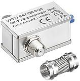 erenLine 1 Stück SAT Dämpfungsregler / Dämpfungsglied 0-20 dB; regelbar; mit Aufdreh-Adapter für Anschluss ohne Zwischenkabel
