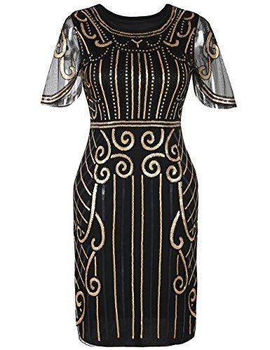 kayamiya Damen Gatsby Kleid der 1920er Jahre inspiriert Perlen Pailletten Cocktail Flapper Kleid XL Gold