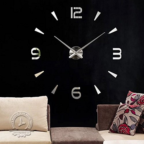 Vinteen classico ed elegante orologio da parete grande fai da te 3d superficie specchio autoadesivo senza cornice home office soggiorno design decor (argento digitale) personalizza la tua dimensione richiesta ( color : silver )