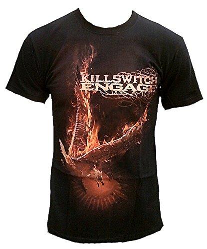 Killswitch Engage Herren T-Shirt Schwarz Phoenix Official Merchandise Front and Back Print Rock Star Club VIP Rockstar Design S 46