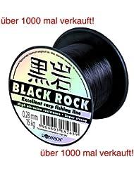 ROBINSON® BLACK ROCK Carpa 600m línea de pesca coulour: negro 7 puntos fuertes + UP®-Etiqueta engomada, Forces:600m / 0.400mm / 28kg