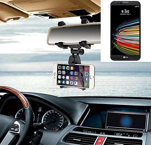 Smartphonehalterung Rückspeigelhalterung für LG Electronics X mach, schwarz | Autohalterung Spiegel KFZ Halter - K-S-Trade (TM)