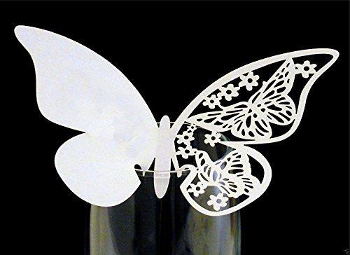 cofco Pack 24Shimmer Laser geschnitten weiß Schmetterling Name Platzkarten für Champagner/Wein Glas decoratiat (24)