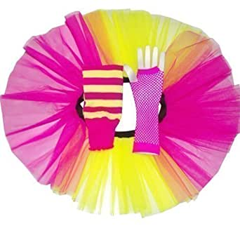 Pink & Yellow Two Tone Tutu Skirt set with Legwarmers & Fishnet Gloves - size 8 to 14 choice of 6 Colour (Yellow)